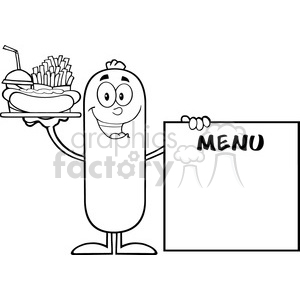 8493 Royalty Free RF Clipart Illustration Black And White Sausage Cartoon Character Carrying A Hot Dog, French Fries And Cola Next To Menu Board Vector Illustration Isolated On White
