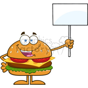 8565 Royalty Free RF Clipart Illustration Hamburger Cartoon Character Holding A Blank Sign Vector Illustration Isolated On White clipart. Royalty-free image # 396689