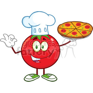 8393 Royalty Free RF Clipart Illustration Tomato Chef Cartoon Mascot Character Holding A Pizza Vector Illustration Isolated On White clipart. Commercial use image # 396705