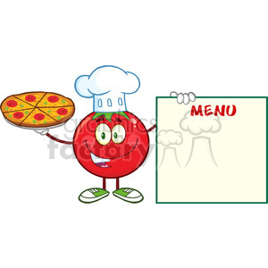 8397 Royalty Free RF Clipart Illustration Red Tomato Chef Cartoon Mascot Character Holding A Pizza And Menu Board Vector Illustration Isolated On White clipart. Commercial use image # 396707