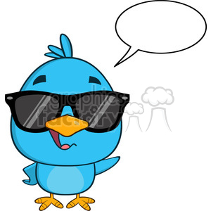 8824 Royalty Free RF Clipart Illustration Cute Blue Bird With Sunglasses Cartoon Character Waving With Speech Bubble Vector Illustration Isolated On White clipart. Royalty-free image # 396725