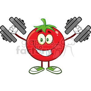 8387 Royalty Free RF Clipart Illustration Smiling Tomato Cartoon Mascot Character Training With Dumbbells Vector Illustration Isolated On White clipart. Commercial use image # 396729