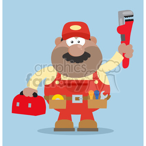 clipart - 8542 Royalty Free RF Clipart Illustration African American Mechanic Cartoon Character With Wrench And Tool Box Flat Style Vector Illustration With Background.