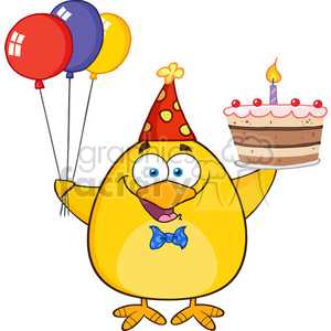 8618 Royalty Free RF Clipart Illustration Cute Yellow Chick Holding Up A Colorful Balloons And Birthday Cake Vector Illustration Isolated On White clipart. Royalty-free image # 396785