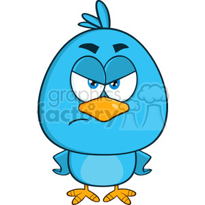 8840 Royalty Free RF Clipart Illustration Angry Blue Bird Cartoon Character Vector Illustration Isolated On White clipart. Royalty-free image # 396795