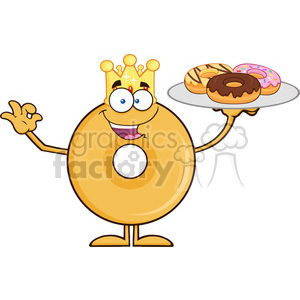 8663 Royalty Free RF Clipart Illustration King Donut Cartoon Character Serving Donuts Vector Illustration Isolated On White clipart. Commercial use image # 396809