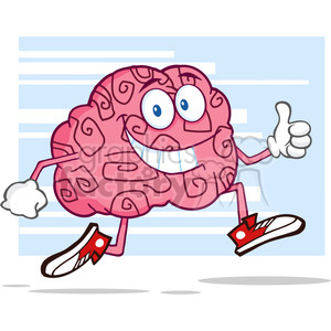 8804 Royalty Free RF Clipart Illustration Smiling Brain Cartoon Character Jogging And Giving A Thumb Up Vector Illustration With Background clipart. Royalty-free image # 396823