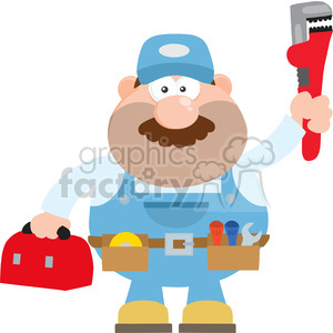 8539 Royalty Free RF Clipart Illustration Mechanic Cartoon Character With Wrench And Tool Box Flat Style Vector Illustration Isolated On White clipart. Commercial use image # 396839