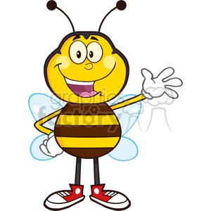 8373 Royalty Free RF Clipart Illustration Happy Bee Cartoon Mascot Character Waving Vector Illustration Isolated On White