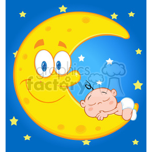 Royalty Free RF Clipart Illustration Cute Baby Boy Sleeps On The Smiling Moon Over Blue Sky With Stars clipart. Royalty-free image # 396909
