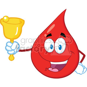 Royalty Free RF Clipart Illustration Red Blood Drop Cartoon Mascot Character Waving A Bell For Donation