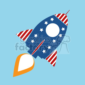 8315 Royalty Free RF Clipart Illustration Retro Rocket With USA Flag Concept Vector Illustration clipart. Royalty-free image # 397025