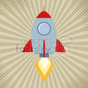 8327 Royalty Free RF Clipart Illustration Vintage Rocket Start Up Concept Flat Style Vector Illustration clipart. Commercial use image # 397035