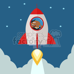 8335 Royalty Free RF Clipart Illustration African American Manager Launching A Rocket To The Sky And Giving Thumb Up Flat Style Vector Illustration clipart. Royalty-free image # 397045