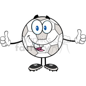 Royalty Free RF Clipart Illustration Happy Soccer Ball Cartoon Character Giving A Double Thumbs Up clipart. Commercial use image # 397055