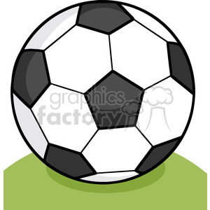 Royalty Free RF Clipart Illustration Soccer Ball On Grass clipart. Royalty-free image # 397065