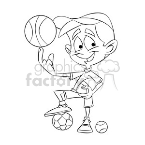 small boy playing all sports cartoon black white clipart. Commercial use image # 397378