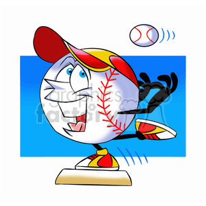 cartoon baseball mascot speedy stealing a base clipart. Royalty-free image # 397408
