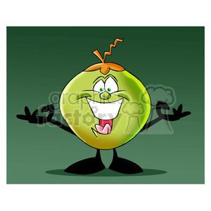 cartoon coconut character mascot charlie happy greeting clipart. Royalty-free image # 397468
