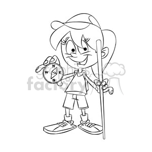 trina the cartoon girl character holding a compass black white clipart. Commercial use image # 397488