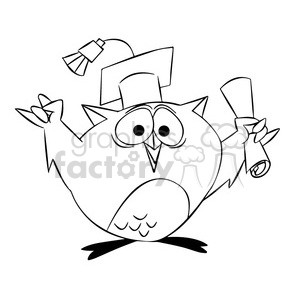 buho the cartoon owl graduating black white clipart. Commercial use image # 397498