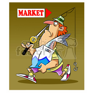 stan the cartoon fishing character buying fish from the market clipart. Commercial use image # 397558