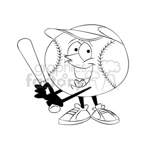 cartoon baseball mascot speedy batting black and white clipart. Commercial use image # 397588