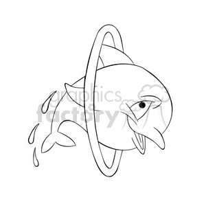 dallas the cartoon dolphin jumping through hoops black white clipart. Commercial use image # 397598
