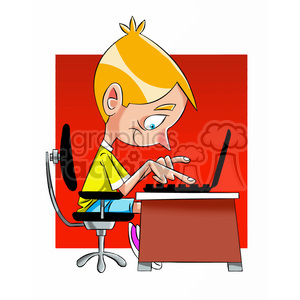 small boy playing on a computer cartoon clipart. Commercial use image # 397608