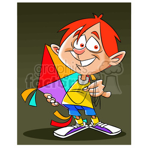josh the cartoon character holding a kite clipart. Royalty-free image # 397638