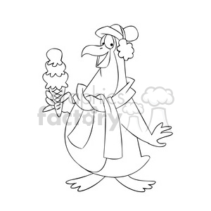 sal the cartoon penguin character eating ice cream cone black white clipart. Royalty-free image # 397648