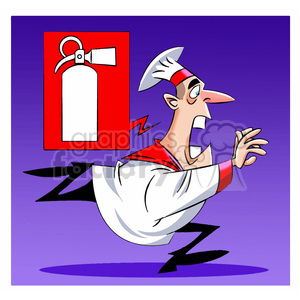 cartoon chef running for fire extinguisher clipart. Royalty-free image # 397658