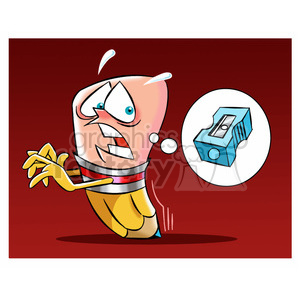 woody the cartoon pencil character running from a pencil sharpener clipart. Royalty-free image # 397668