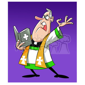 paul the cartoon priest character preaching the gospel clipart. Royalty-free image # 397678