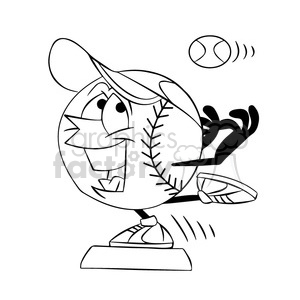 cartoon baseball mascot speedy stealing a base black and white clipart. Commercial use image # 397748