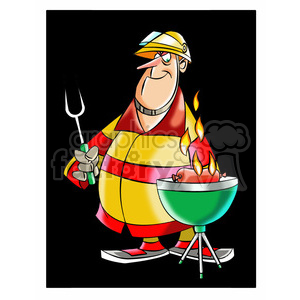 frank the cartoon firefighter cooking on a grill bbq clipart. Royalty-free image # 397778