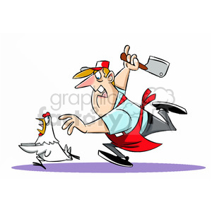 Chuck the cartoon butcher chasing a chicken clipart. Commercial use image # 397808