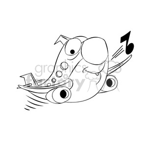 cartoon airplane flying and whistling black and white clipart. Royalty-free image # 397818