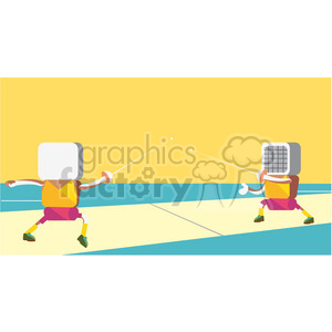 olympic sword fighters sports character illustration clipart. Commercial use image # 398156
