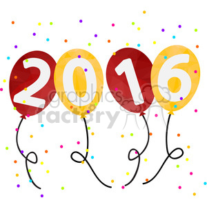 2016 party balloons happy new year clipart. Royalty-free image # 398166
