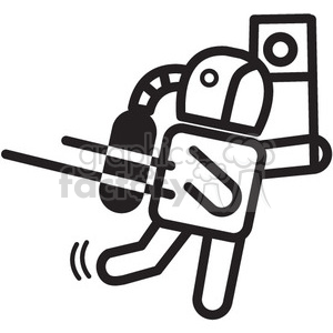 astronaut holding flag vector icon clipart. Commercial use image # 398508