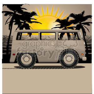 volkswagen bus van sunset on beach clipart. Commercial use image # 398813