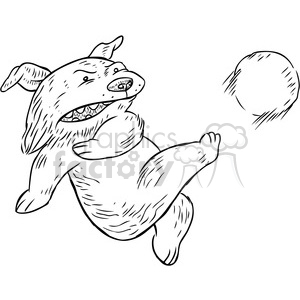 cartoon character dog soccer kicking fottball kick ball sports funny