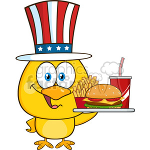 yellow chick cartoon character with usa patriotic hat holding a fast food tray vector illustration isolated on white clipart. Commercial use image # 398877