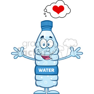 royalty free rf clipart illustration smiling water plastic bottle cartoon mascot character thinking of love and wanting a hug vector illustration isolated on white clipart. Commercial use image # 398906