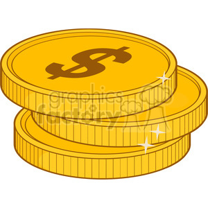 royalty free rf clipart illustration three golden dollars vector illustration isolated on white background clipart. Royalty-free image # 398916