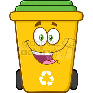 royalty free rf clipart illustration happy yellow recycle bin cartoon character vector illustration isolated on white background clipart. Royalty-free image # 398954