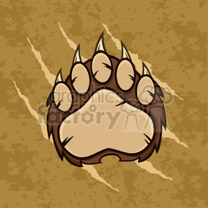 royalty free rf clipart illustration brown bear paw with claws vector illustration with scratches grunge background clipart. Royalty-free image # 398982