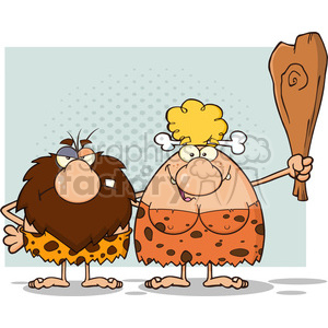 caveman couple cartoon mascot characters with woman holding a club vector illustration clipart. Royalty-free image # 399002