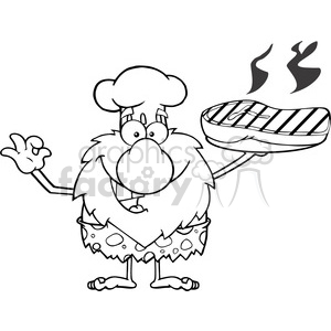 black and white chef male caveman cartoon mascot character holding up a platter with big grilled steak and gesturing ok vector illustration clipart. Royalty-free image # 399022